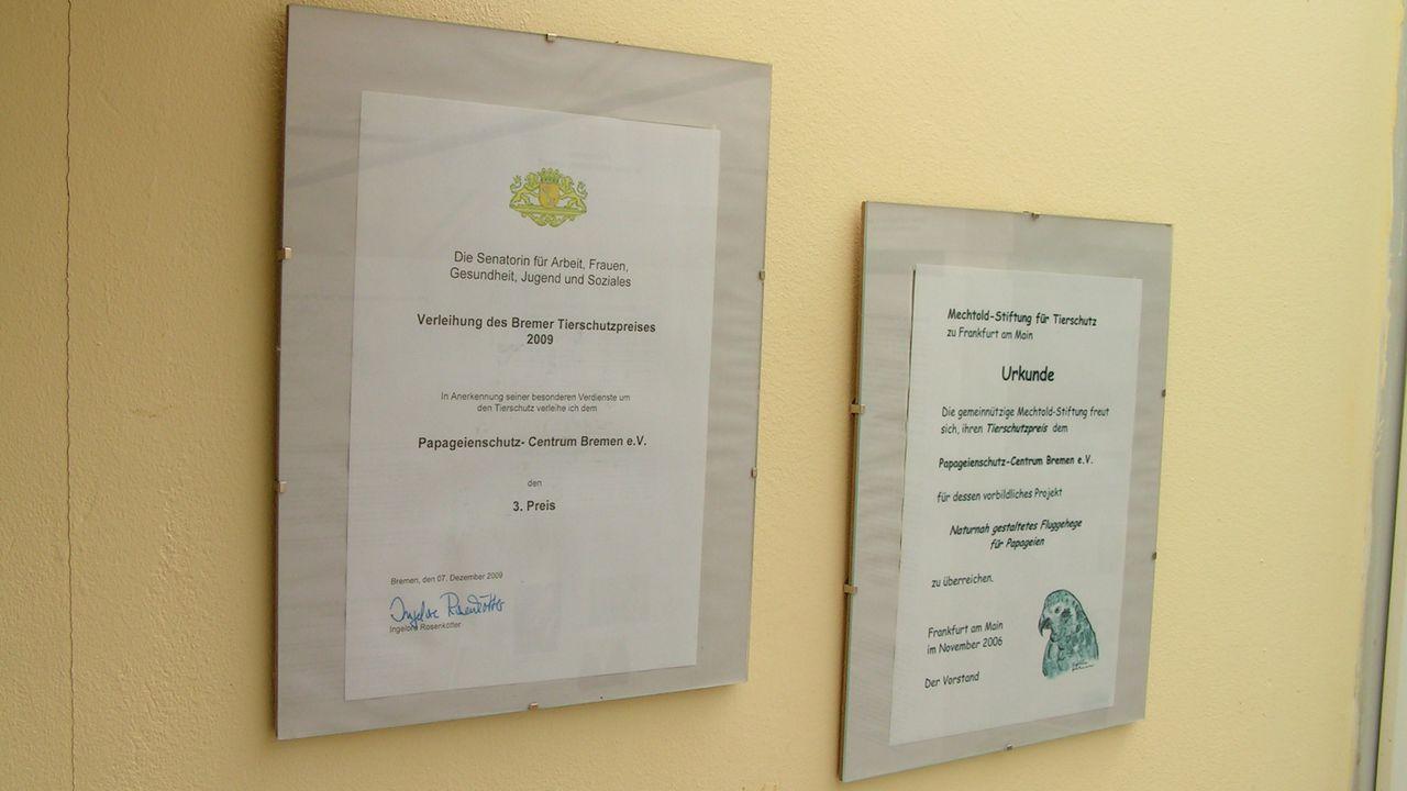 Auszeichnungen für das Papageienschutz-Centrums Bremen e. V.