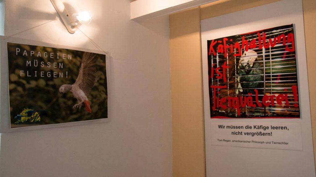 Plakate im Eingangsbereich: Gegen die Käfighaltung