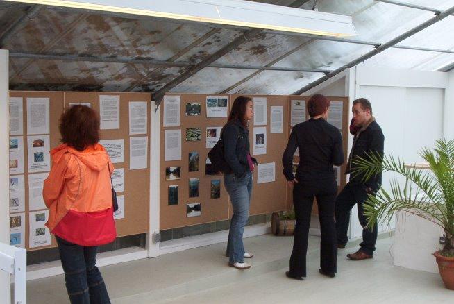 Informationsgespräche im Ausstellungsraum